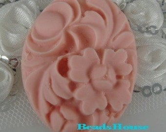 20%off - 200-00-CA  2pcs Vintage Style Oval Floral Cameo 30 x 40 mm ,Pale Pink.
