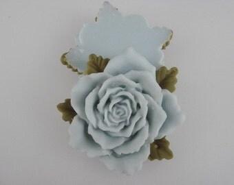 20%OFF- 600-00-649-CA  2pcs Pretty Big Rose Cabochon-Blue Bell