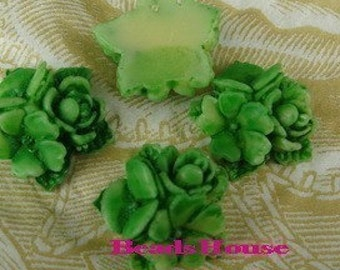 15%off - 404-00-CA  6pcs Beautiful Tie-Dyed Star Flower Bouquet Cabochons -Tie-Dyed Green.