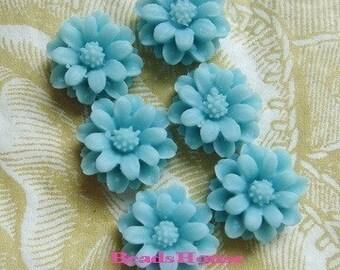 36-00-3105-CA  6 Pcs  Mini Chrysanthemum Cabochon -Lt.Blue.