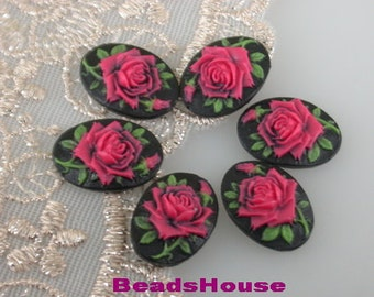 90s-RB-CA 6pcs (13x18 mm) Beautiful Oval Rose Cameo-Rose on Black