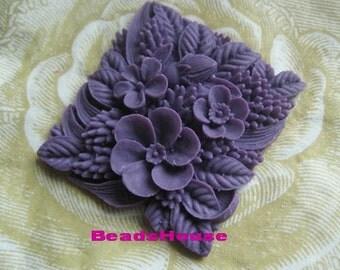 339-O2-587 -CA  2pcs Vintage Square Flower Cabochon- Purple