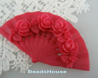 2pcs Classic Rose On Fan Cabochon,32 x 60 mm,Siam ( BH349)