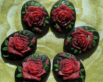 90S-00-CA 6pcs (13x18 mm) Beautiful Oval Rose Cameo-True Red on Black