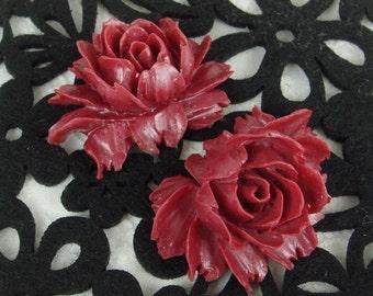 34-00-BUR-CA  4pcs Beautiful Cabbage Rose Cabochon - Burgundy Pearl