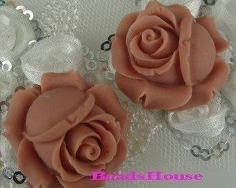 40%off 4pcs  Elegant Rose Cabochon - Sweet Nectar.