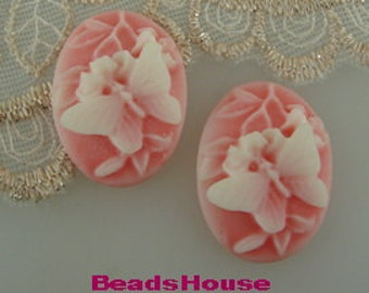 231s--CM  4pcs (18 x 25 mm)  Butterfly  W/Flower Cameo ,White on Pink
