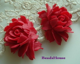 34-02-RED-CA  2Pcs Cabbage Rose Cabochon - Rose Red.