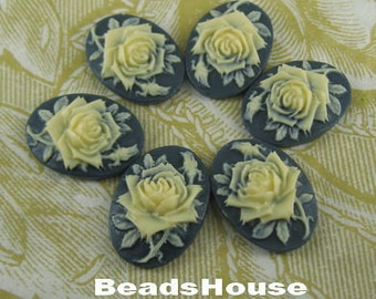 90s-DG-CA 6pcs (13x18 mm) Beautiful Oval Rose Cameo- Ivory on Navy
