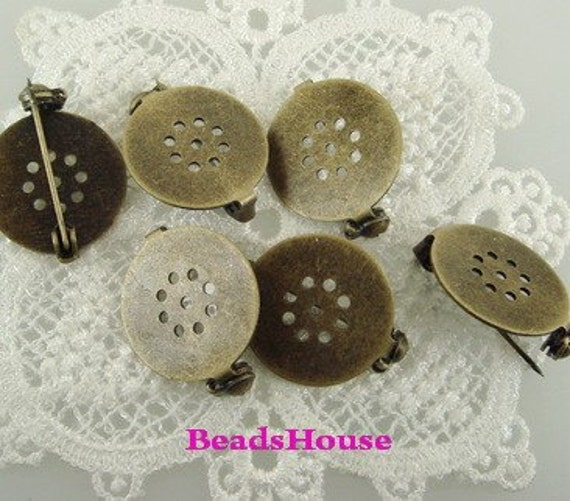 25 pcs  Antique Brass w /9 Hole in 18mm Pad- Safty  Brooch