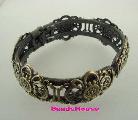 CB-06Ant  1 pc Unique Antique Brass Plated  w/Filigree Cuff-Bracelet