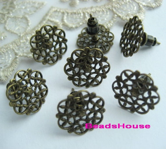 20 pcs Antique Bronze Earring Posts With15mm Filigree And Ear Studs Back Stoppers.Nickel Free