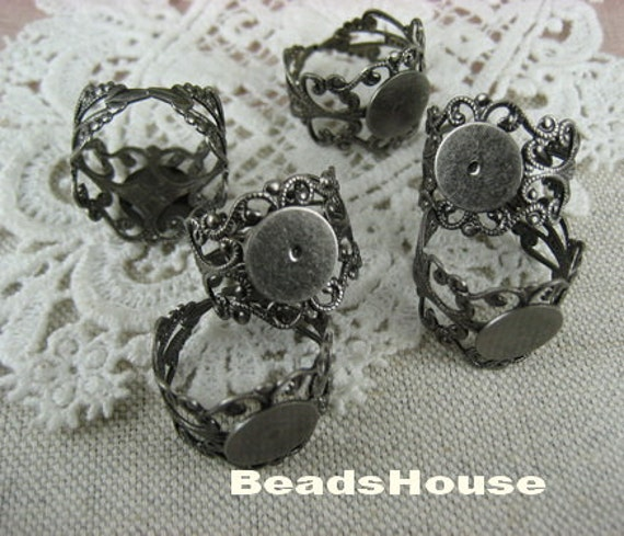 20% OFF- 50pcs Adjustable Antique-Silver Plated Filigree Ring, W/10mm Pad,Nickel Free