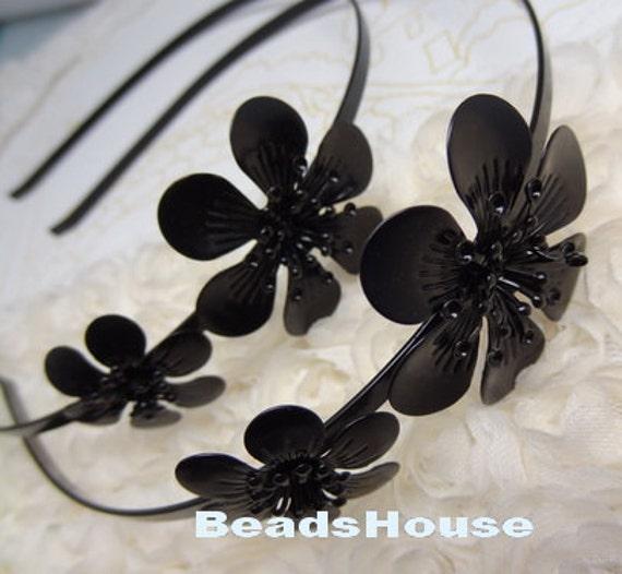 2 pcs (HB-02-FL)Black Coating With Flower HeadBand,Nickel Free.
