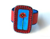 RESERVED for Terry - Summer in Holland - Cuff Bracelet, wearable art. Oil painting, leather, glass