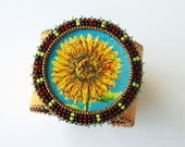 RESERVED for Terry - Holiday in Provence - bead embroidered cuff with original oil painting