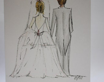 May This be the beginning of a long and beautiful life together, bride groom wedding card, made on recycled paper