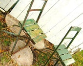 Vintage Bistro Chairs/Stadium Chairs From Soldiers Field Chicago Possibly// Chippy Green