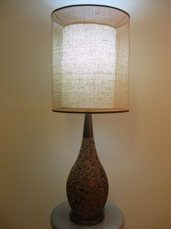 Cork table lamp with lampshade for Wine cork lampshade