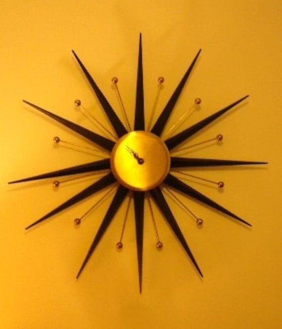 ATOMIC MID CENTURY MODERN STARBURST WALL CLOCK  EAMES ERA