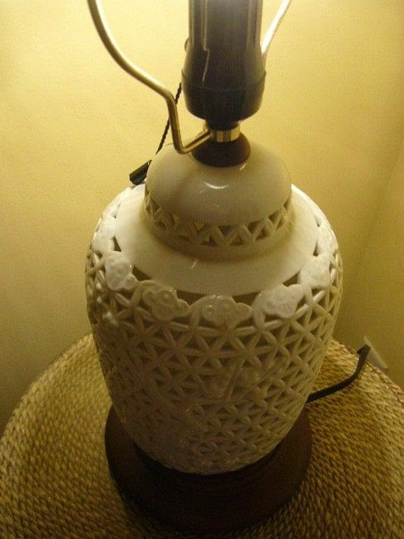 Vintage Seyei Pierced Porcelain Lamp Blanc de Chine