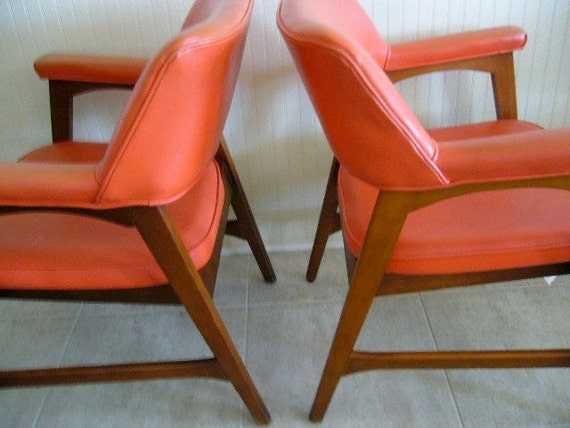 RESERVED FOR CHICAGO//Vintage Mid Century Chairs Orange