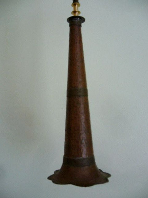 Vintage Victrola Copper Horn Ceiling Mount Lighting Fixture
