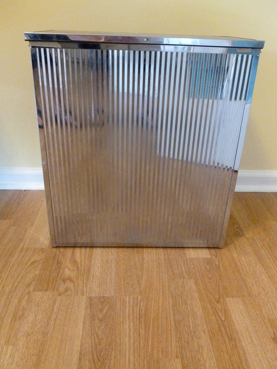 Vintage Mid Century Modern Chrome Hamper 1980s High Class Laundry