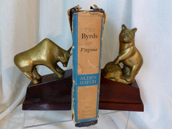 Vintage Mid Century Wall Streeet Stock Market Bookends Bull and Bear