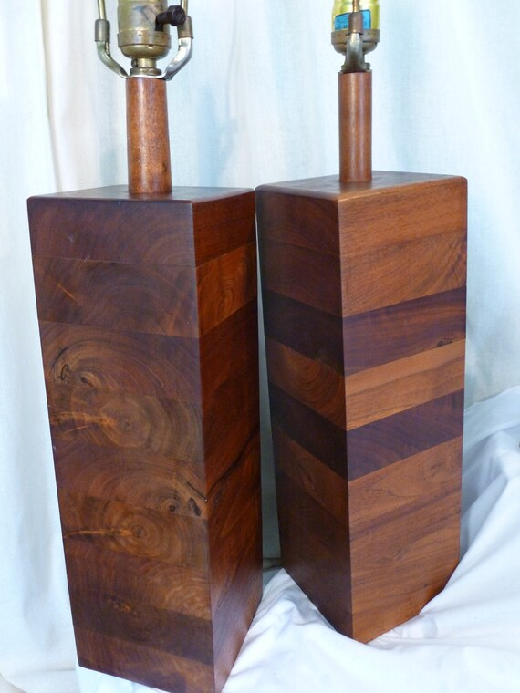Attractive Vintage Mid Century Modern Wood Lamps Pair