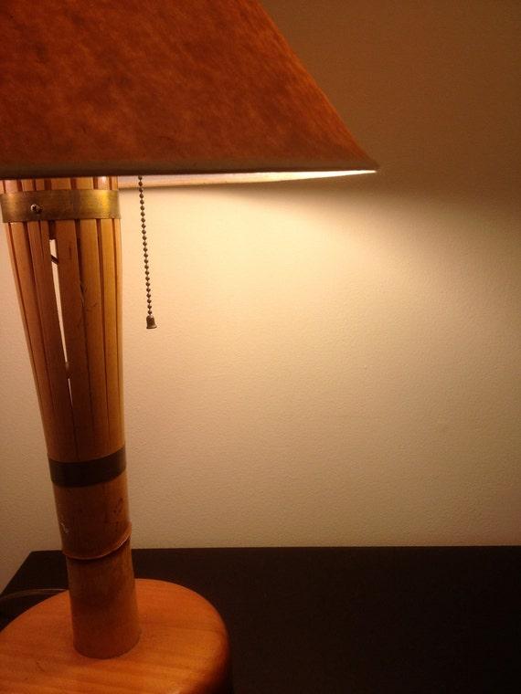 RESERVED FOR R... till 5/6/13 Vintage Mid Century Modern Rattan Split Rattan Bamboo Lamp