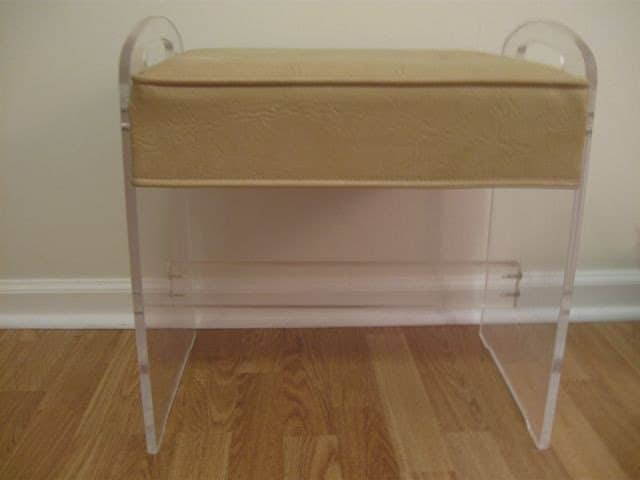 Lucite vanity stool bench - Acrylic vanity chair ...