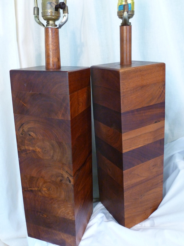 vintage mid century modern wood lamps pair