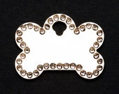 Pet Tag Personalized on Two-Sided Small Bone with Crystal Bling, Shiny Nickel Plating
