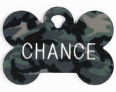 Pet Tag Personalized on Two-Sided Large Camouflage Bone
