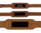 Pet Collar in Brown Natural Leather with Embedded ID Plate, for Medium Pets