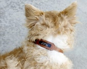 Pet Collar in Brown Natural Leather with Embedded ID Plate, for Small Pets