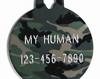 Pet Tag Personalized on Two-Sided Large Camouflage Circle