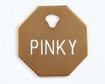 Pet Tag Sale Personalized on Two-Sided Small Octagon in 10 Colors
