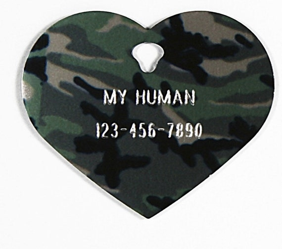 Pet Tag Personalized on Two-Sided Large Camouflage Heart