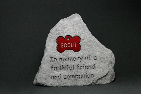 Pet Memorial Engraved Stone, Bone Tag in 10 Colors