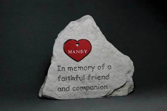 Pet Memorial Engraved Stone, Heart Tag in 10 Colors