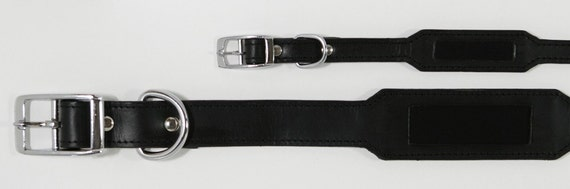 Pet Collar in Black Leather with Embedded ID Plate, for Large Pets
