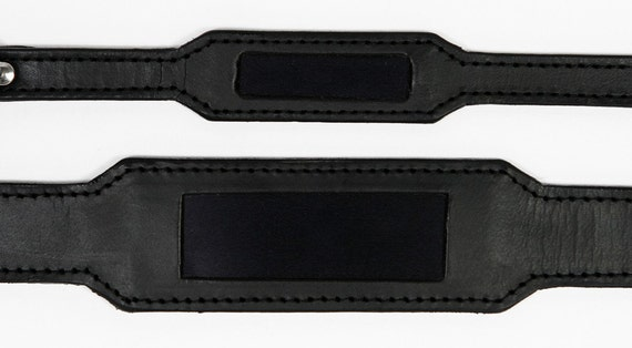 Pet Collar in Black Leather with Embedded ID Plate, for Medium Pets