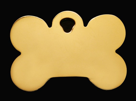 Pet Large Bone Tag with Shiny Gold Plating