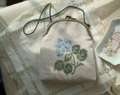 Linen purse with hydrangea