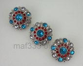 BB0009 - Set of THREE (3) Beautiful Red, Clear and Turquoise Rhinestone Buttons
