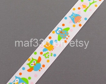 "A0040 - Ten (10) Yards of Cutie Owls on 7/8"" White Grosgrain Ribbon - for scrapbooking, bowmaking, crafts"