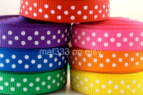 "A0028 Thirty-Five (35) Yards Total Sampler of White Swiss Dots 3/8"" Grosgrain Ribbon"