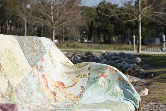 Upholstery Patchwork Picnic and Beach Blanket  with Muted Damask, Floral, Tole, Rose, and Shells  by InYourBones